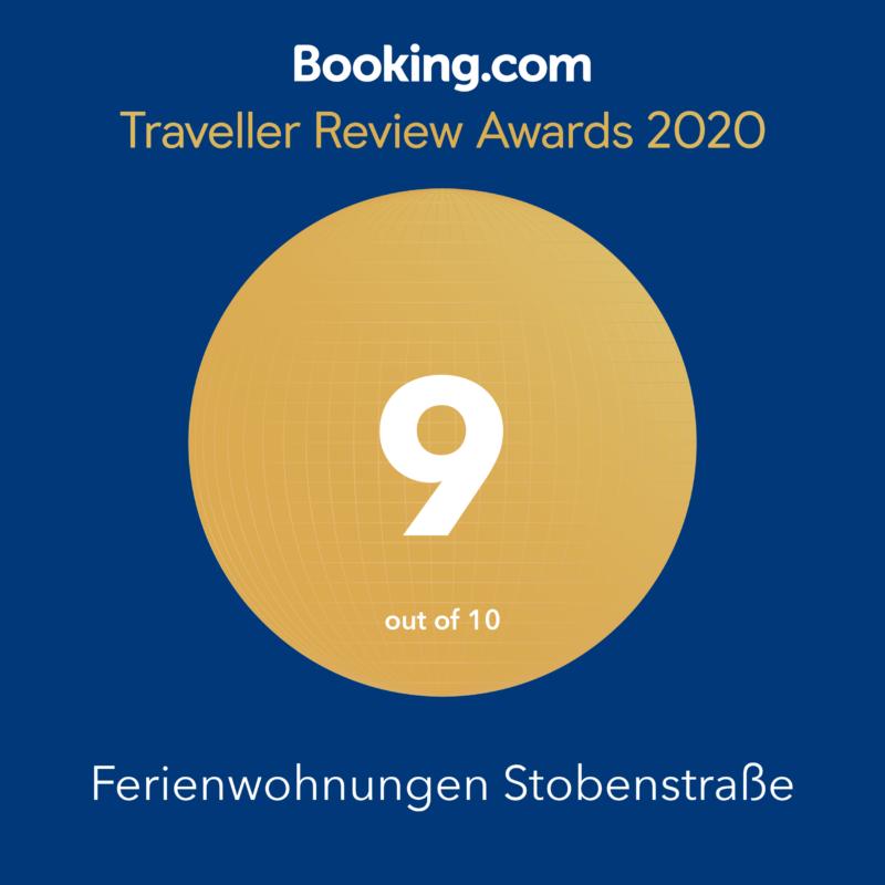 ferienwohnung Stobenstrasse Booking.com Traveller Review Award 2020
